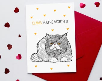 Funny Cat Valentine's Card | Sarcastic Cat | Cynical Valentine