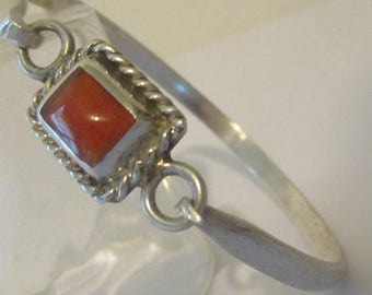 ON SALE Sterling Silver Orange Fire Opal Hook Bangle Bracelet Mexico