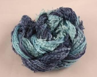 Navy blue Aqua Marine Blue hand dyed Thread weaving thread sewing quilting cotton ribbon Embroidery thread embellishment Waldorf doll hair