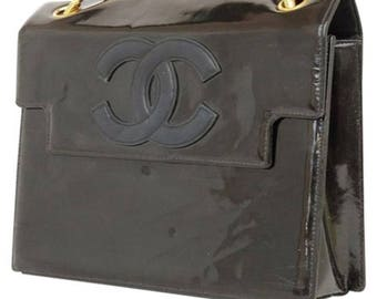 CHANEL  Shoulder Bag Black Patent Leather  Double Chain