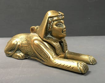 Inkwell Egyptian Revival Brass Sphinx c.1950s Inkwell