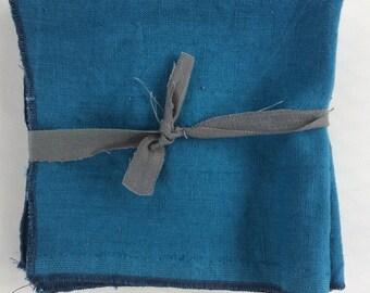 4 Bright Blue Linen Napkins, 14 inch napkins, 100% linen,  Rustic Dinner Napkins