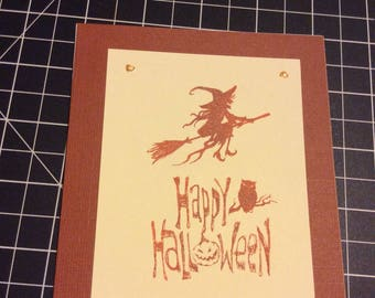 Happy Halloween card, handmade greeting card, orange background, witch flying on broom, pumpkin owl stamped by hand