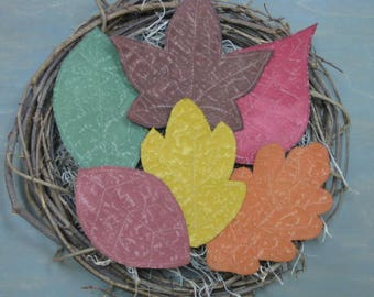 Primitive Fall Leaves Bowl Fillers - Set of 6 Flat Painted Fabric Leaves - Autumn Decor - Cupboard Tucks - Fall Ornies - Primitive Grungy