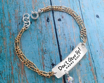 Sterling Silver and Gold Filled Bracelet Design Your Own. Several adult sizes. Stamped with a name, date, medical condition, scri