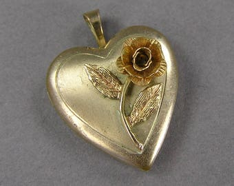 Vintage Heart Locket, 3D Rose, 14k Gold Fill, Repurpose Locket, Destash