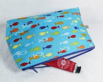 make up bag, toiletry bag, blue make up bag, blue toiletry bag, blue nautical make up bag, cosmetic bag, fish toiletry bag, nautical bag