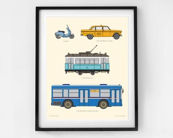 Transportation art prints for boys, City Vehicle print,  designed for boys rooms, by Little Grippers