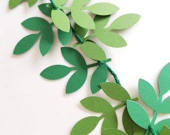Eucalyptus Garland| 5 Ft Paper Cutout Garland strung on yarn. Reusable Eucalyptus Garland. Paper Eucalyptus Banner. Bridal Shower Decoration