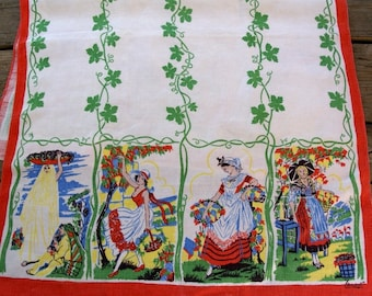 1970s Vintage Linen tea towel with ivy and young ladies