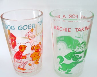 Archie Comics Collectible Beverage Glasses // Vintage 1970s Archie and the Gang