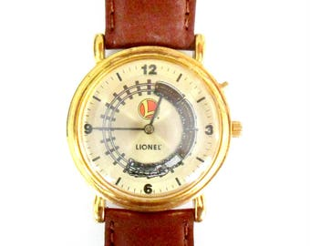 Lionel Train Collectible Watch Moving Train Second Hand // Unisex Wristwatch Timepiece New Battery