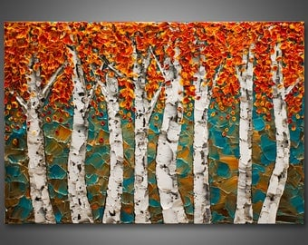 """Large 36""""x 24""""x1.5 - Original Birch Tree Painting Palette Knife Impasto Textured Professionally Stretched Wired Ready to Hang FREE SHIPPING"""