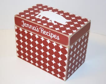 Red and White Recipe Box, 4x6 Recipe Box, Polka Dot Recipe Box, Pig Recipe Box, Handmade 4 x 6 Wooden Recipe Box, Red Kitchen, Keepsake Box