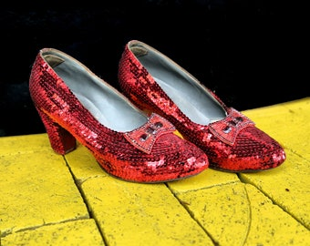 Handmade Replica Ruby Slippers Made From Vintage 1930's Shoes