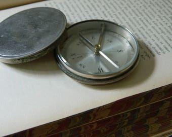 Large Vintage Compass. Metal Case. Beveled Glass.