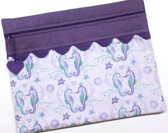 Purple Sea Horse Cross Stitch Embroidery Project Bag