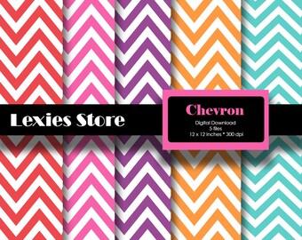 Chevron Digital Scrapbook Paper download printable- red, pink, blue, purple, orange