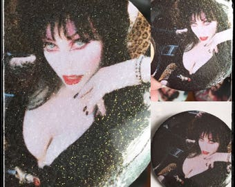 Elvira Glitter Sparkle Button Large Pin Back Button