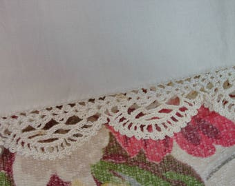 Vintage Bed Sheet Cotton Full Size Never Used, Wards, Crochet Edge