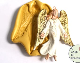 "Large angel mold, 4"" silicone mold for Christmas ornaments or cakes. Fondant, gumpaste, polymer clay, resin ornaments, pmc  M5169"