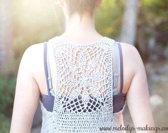 Warm Weather Shirt Crochet Pattern, Boho Vest Crochet Pattern, Lace Top Crochet Pattern