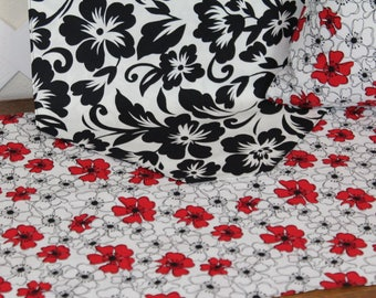 Table Runner.  Pillow Cover.  Classic Red, white, black.  Floral home decor.  Mix 'n match patterns