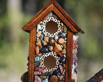 Rustic stone birdhouse,Mosaic birdhouse,Mosaic Garden Art,Eco Friendly,nature lover,cabin decor,spring birdhouse,love bird house,garden art
