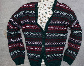 Oversized Ugly Christmas Sweater Cardigan + Turtleneck Jumper 7CH