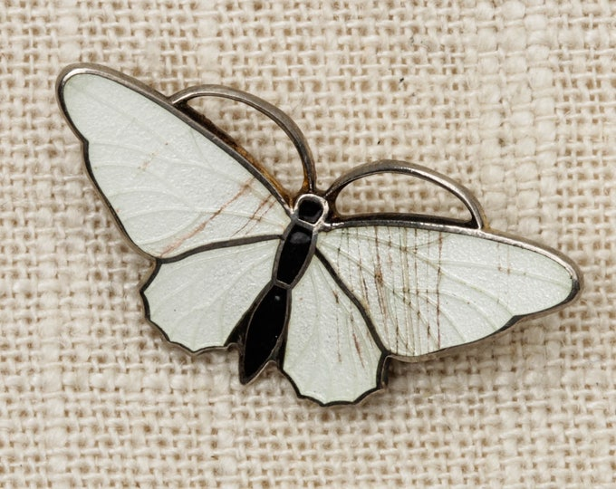 Butterfly Brooch Vintage White Black Silver Moth Broach Vtg Pin 7T