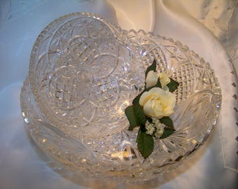 Vintage Footed Cut Glass Crystal Bowl and Dish