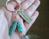 On Sale Minnow Fishing Lure Key Chain Personalize, Customized, Hooked On You