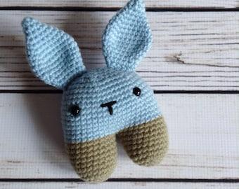 Baby Rabbit Rattle, Stuffed Bunny, Stuffed Rattle, Stuffed Animal Rattle, Woodland Nursery, Baby Toy, Infant Rattle