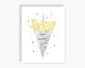 Birthday Fries card - black, white, multi