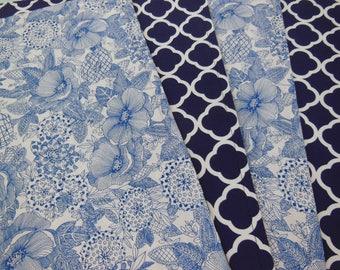 Navy Trellis Placemats - Blue Flower Placemats - Set of Four Placemats - Reversible Placemats - Geometric Placemats - Cottage Home Placemats
