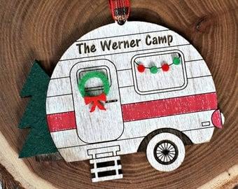 Custom Camping Christmas Ornament, Family Ornament, Travel Trailer Christmas Ornament, Happy Camper Ornament, Wood Ornament