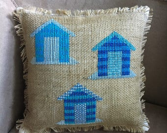 Beach Hut Pillow  // Burlap Pillow // Beach Decor // Coastal Decor // Beach House Decor
