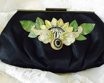 NEW - Vintage Black Satin Clutch with Vintage Embroidery