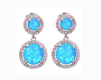 Opal earrings, blue opal earrings, opal earrings, silver earrings, dangle opal earrings