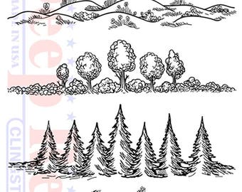 Deep Red Rubber Cling Stamp Nature Themed Borders Trees Hills Rocks