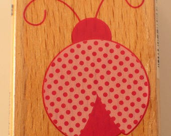 Lady Bug Whimsical Dotted Hampton Art Studio G Wooden Rubber Stamp