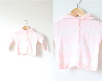 40% OFF CHRISTMAS in JULY Vintage little girl's 12-24 month white pink striped hooded sweater // striped boho infant baby sweater // hooded