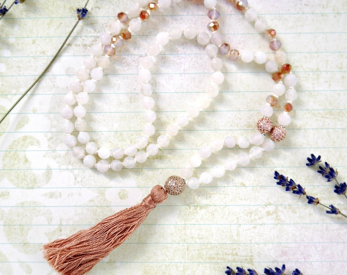 white agate and czech glass bead handknotted tassel necklace, 108 mala beads, carneol colored, rust colored handknotted necklace, white