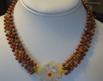 "Vintage Woven Gemstone Beaded 16 1/2"" Choker/Necklace w/ Carved Shell Flower Pendant, Magnetic Clasp, Fancy Jasper and Goldstone"