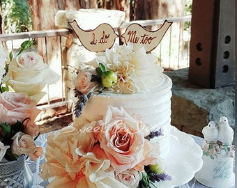 Rustic love birds cake toppers, I do Me too, custom, personalized wedding, shabby chic