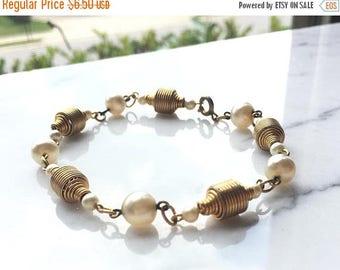 SUMMER SALE Vintage Gold tone Metal Wire Pearl Bracelet Anklet