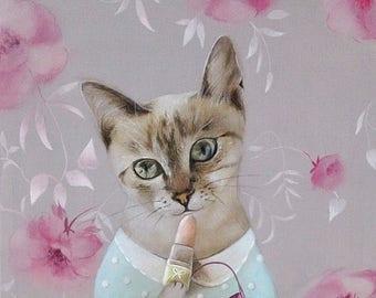 On Sale cat illustration, cat acrylic painting, nursery wall art, cute cat Print, children room decor, whimsical girly room decor animal art
