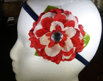 Red and White Hair Flower