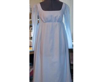 jane austen empire line long sleeve regency dress in blue and white pinstripe cotton lawn