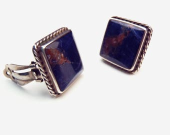 Taxco Clip-on Earrings Sodalite Squares in Sterling Silver Bezels w/ Twist Wire Trim Signed TC-46 Mexico Dark Blue w/Reddish & White Matrix